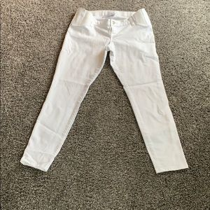 White maternity jeans, ankle crop fit.